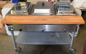 Eagle 3 well Electric Steam Table On Wheels W 5 Pans Covers Western Ma