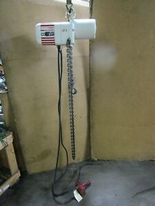 Coffing 1 T Ton 2000 Lb 1hp Electric Chain Hoist 230 460v 3ph 16 F p m 8 Drop