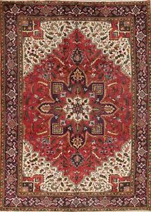 One Of Kind Geometric Heriz Persian Oriental Red Hand Knotted 6x9 Wool Area Rug