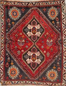 Antique Geometric Tribal Qashqai Persian Oriental Hand Knotted 4x5 Red Wool Rug