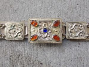 Antique Persian Silver Hand Made Belt With Baltic Amber Jewels Very Rare
