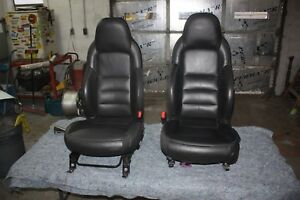 2006 Thru 2011 C6 Corvette Ebony Black Leather Seats Seat Pair With Tracks