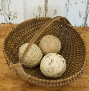 Set Of 3 Rag Balls Made From Early Brown Calico And Homespun
