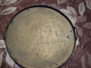 Vintage Antique Brass Serving Tray Etched With Asian Art Great Collectible