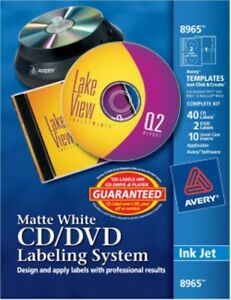 Avery Cd dvd Labeling System Permanent Adhesive Matte 40 Labels 8965