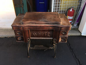 Antique White Treadle Sewing Machine Cabinet Stand Cast Iron