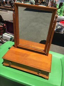 Conant Ball Vanity Mirror With Drawer Original Wood Mid Century Vintage
