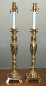 Pair Brass Candlestick Lamps Colonial Williamsburg Style Baroque Adjustable