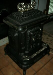 Antique Wood Burning Parlor Stove Kineo Grand 3 1890 S Noyes Nutter Co
