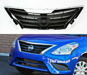 Chrome Front Replacement Upper Hood Grill For Nissan Versa Sedan 2015 2017