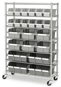7 Shelf 22 Bin Rack Rolling Storage Shelving Commercial Storing Wire Shelves