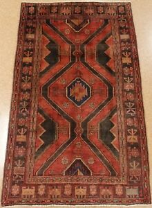 Persian Koliai Tribal Hand Knotted Wool Red Spectacular Oriental Rug 5 X 8