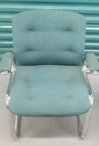 Vintage Steelcase Upholstered Cantilever Chrome Arm Chair two Are Available