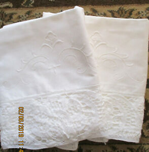 Pillow Cases Embroidery Design 3 Lace Edging White 19 X32 Never Used