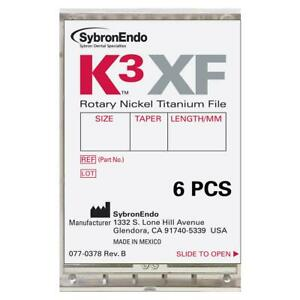 Kerr Dental 823 4255 K3 Xf Endodontics Rotary File 25 Taper 04 25mm 6 pk