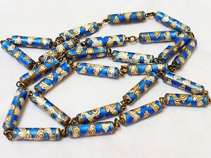 Chinese Vintage Enamal Cloisonne Silver Bead Necklace Silver Clasp