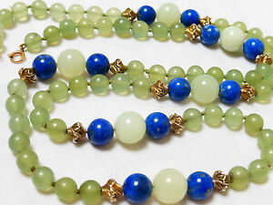 Chinese Vintage Green Jade And Lapis Bead Necklace 9kg Clasp 82 Grams