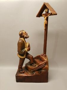 Vintage Wood Carved Religious Figure Jesus On Cross Inri Carving Wooden 17 1 2