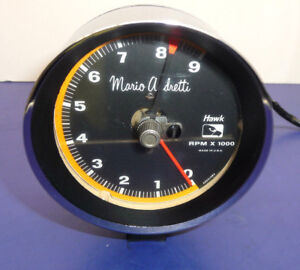 Vintage Mario Andretti Electronic Tach With Chrome Bezel Housing Cup