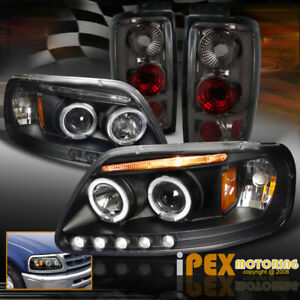 1997 2002 Ford Expedition Halo Led Projector Black Headlights Smoke Tail Light