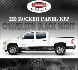 Hex Black Night Camo Rocker Panel Graphic Decal Wrap Truck Suv 12 X 24ft
