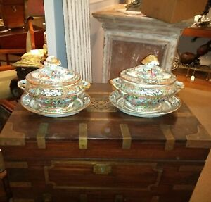 Pair Antique Chinese Export Rose Medallion Porcelain Tureens