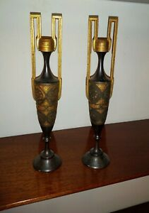 Pair Antique Egyptian Revival Gold Inlaid Iron Urns Cabinet Vases
