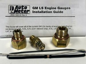 Auto Meter 5284 Gauge Adapter Installation Fitting Kit Sensor Gm Ls Engine