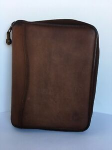 Franklin Covey Compact Brown Leather Planner Spacemaker With Inserts