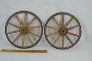 Wheels Wood Spoke Rimmed Pr 10 In Carriage Wagon Toy Early Painted Antique