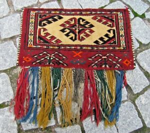 Fabulous Antique Collector S Item Tribal Wall Decor Yomud Spoon Bag Torba Rug