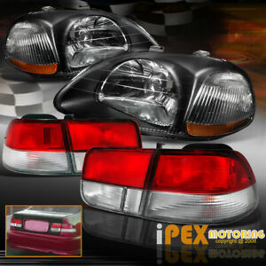 For 96 97 98 Honda Civic 2dr Coupe Jdm Black Headlights Type R Red Tail Lights