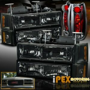 94 98 Gmc Sierra Yukon All Smoked Head Light Set W Corner Signals Tail Lamps