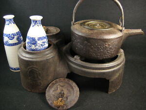 Antique Japanese Tea Ceremony Chado Signed Gotoku Furogama Kettle Stand