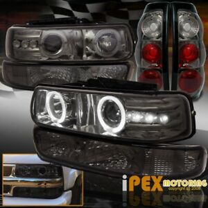 1999 2002 Chevy Silverado Halo Projector Smoke Headlights Smoke Tail Light Set