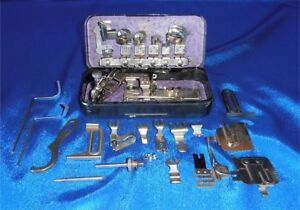 Vintage Antique Rotary Sewing Machine Attachments In Metal Box Top Clamping