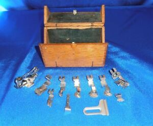 Antique Oak Sewing Machine Accessory Case Puzzle Box Style With Attachments