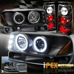 04 06 Gmc Sierra 1500 2500hd Halo Led Black Headlight Tail Light signal Light