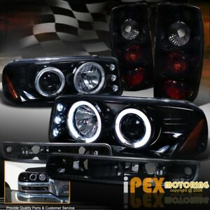 2004 2006 Gmc Sierra Projector Shiny Black Headlight Dark Smoke Tail Light Set