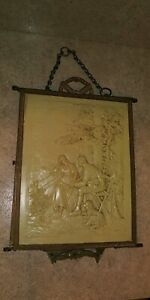 Antique Victorian Tri Fold Folding Mirror Brass With Chain Hang Only