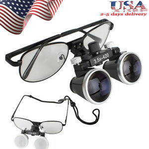 Black Metal Frame Dental Surgical Binocular Loupes 3 5x 420mm Optical Glass Usa