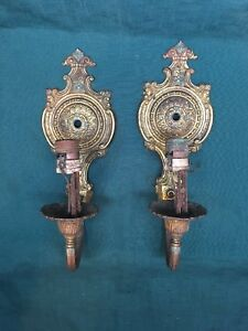 Vintage Cast Brass Wall Sconces Ornate Electric Light Fixtures Pair