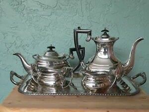 Antique Sheffield England Crafton Silver Plate Tea Set Lg Serving Tray 1920s