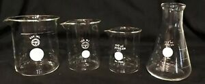 Vintage Pyrex Glass Chemistry Science Lab Beakers Set Of 4 250 150 100 125