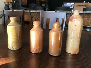 Antique Stoneware Crock Bottle Lot 2 Signed Salt Glaze Redware 19th Beer Gin