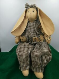 Primitive Handmade Christmas Bunny Rabbit Raggedy Doll Shelf Sitter Blue Gingham