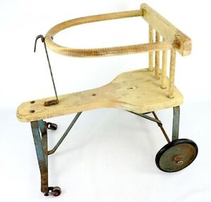 Vtg Antique Metal Wooden Baby Stroller Walker Blue Beige