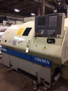 Okuma Crown 762s Cnc Lathe With Osp 700l Control Under Power Detroit Video