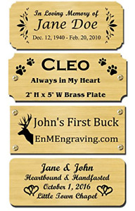2 H X 5 W Solid Brass Satin Name Plates Personalized Custom Laser Engraved