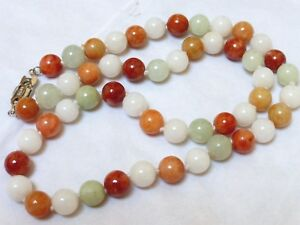 Chinese Vintage Multicolor Jade 9mm Bead Necklace Silver Clasp